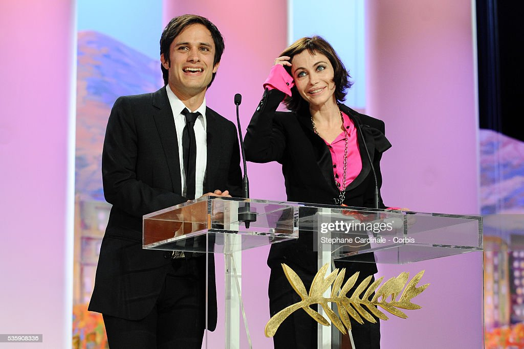 Gael Garcia Bernal and Emmanuelle Beart attend the 'Palme d'Or Award Ceremony' of the 63rd Cannes International Film Festival