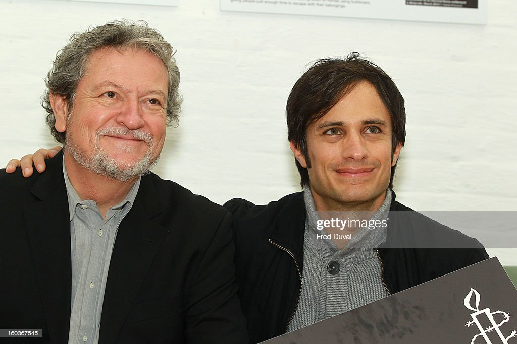 Gael Garcia Bernal and Eugenio Garcia attend a photocall to promote his Oscar nominated film 'No', which tells the story of Chilean dictator Augusto Pinochet at The Human Rights Action Centre on January 30, 2013 in London, England.