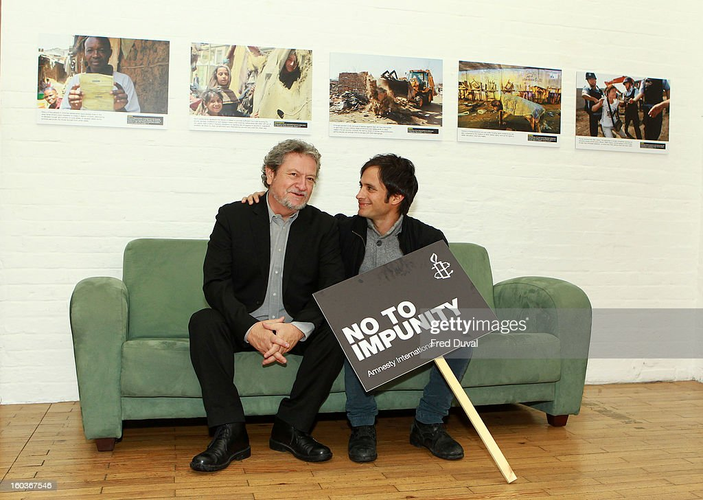 Gael Garcia Bernal and Eugenio Garcia attends a photocall to promote his Oscar nominated film 'No', which tells the story of Chilean dictator Augusto Pinochet at The Human Rights Action Centre on January 30, 2013 in London, England.