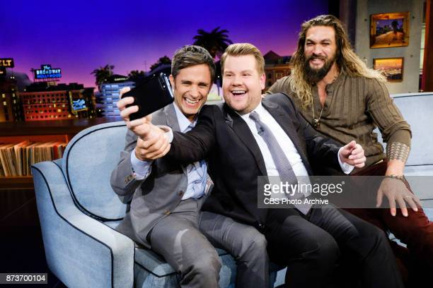 Gael Garcia Bernal and Jason Momoa chat with James Corden during The Late Late Show with James Corden Thursday November 9 2017 On The CBS Television...