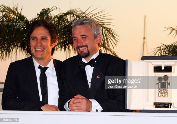 Gael Garcia Bernal and Michael Rowe attend the Palme d'Or Award Ceremony Photo Call held at the Palais des Festivals during the 63rd Annual...