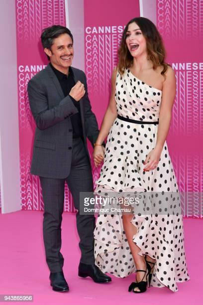 "Gael Garcia Bernal and Paulina Davila attend ""Aqui En La Tierra"" and ""Il Cacciatore"" screening during the 1st Cannes International Series Festival at..."