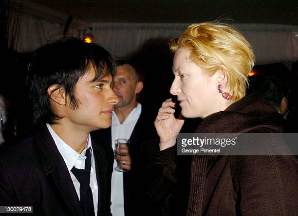 Gael Garcia Bernal and Tilda Swinton during 2004 Cannes Film Festival Motorcycle Diaries Party at La Plage Coste in Cannes France