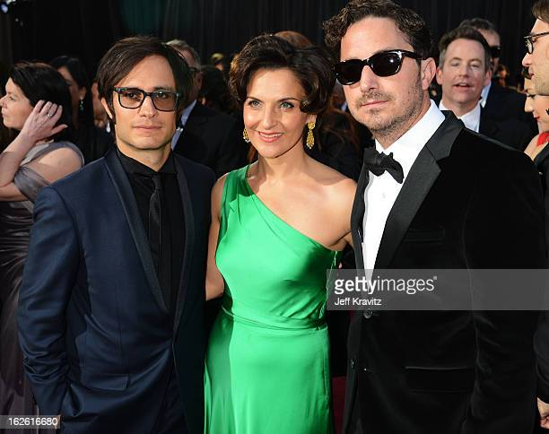 Gael Garcia Bernal Antonia Zegers and Pablo Larrain arrive at the Oscars at Hollywood Highland Center on February 24 2013 in Hollywood California