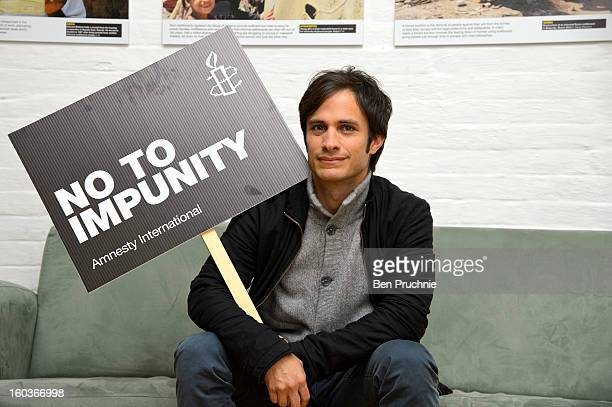 Gael Garcia Bernal attends a photocall to promote his Oscar nominated film 'No' which tells the story of Chilean dictator Augusto Pinochet at The...