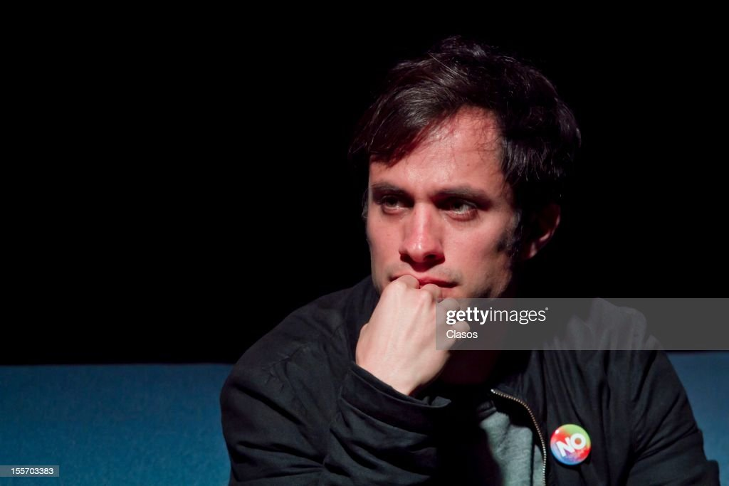Gael Garcia Bernal looks at during the screening of the new film NO that he star in at the Universidad Iberoamericana on November 6, 2012 in Mexico City, Mexico.