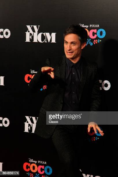 Gael Garcia Bernal poses during the red carpet of the new animated film by Pixar 'Coco' as part of the XV Morelia International Film Festival on...