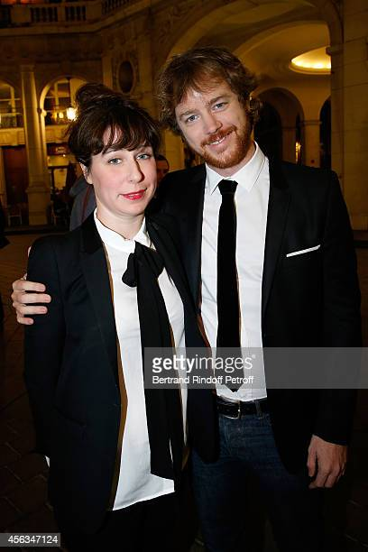 Gael Girodeau and Anne Auffret attend the tribute to Gisele Casadesus celebrating her 100th anniversary at Theatre Edouard VII on September 29 2014...