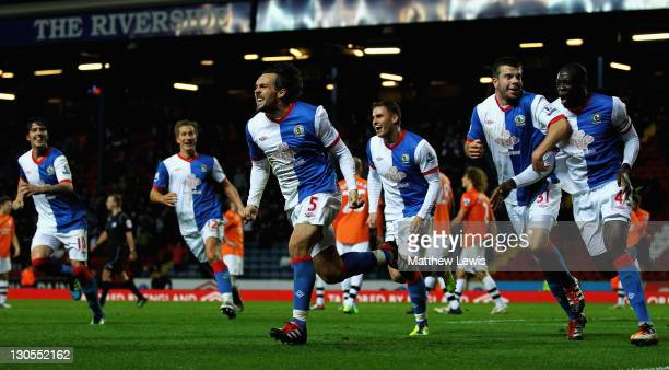 Gael Givet of Blackburn celebrates scoring the winning goal during the Carling Cup Fourth Round match between Blackburn Rovers and Newcastle United...