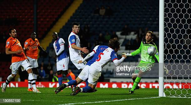 Gael Givet of Blackburn scores the winning goal during the Carling Cup Fourth Round match between Blackburn Rovers and Newcastle United at Ewood park...