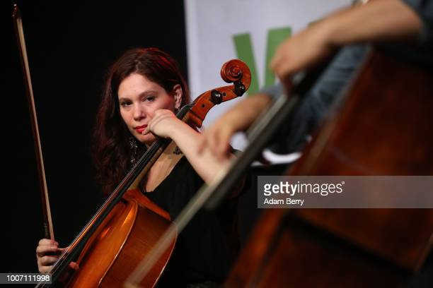 Gael Huard of the band Siach HaSadeh performs during a concert at Yiddish Summer Weimar on July 28, 2018 in Weimar, Germany. The annual four-week...