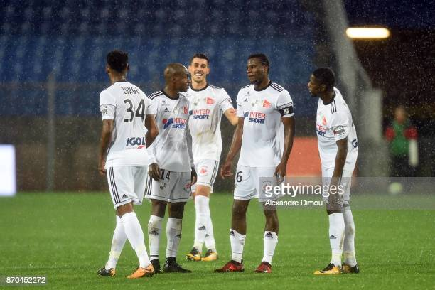 Gael Kakuta and Bongani Zungu and Guy Massoma and Harisson Manzala of Amiens during the Ligue 1 match between Montpellier Herault SC and Amiens SC at...