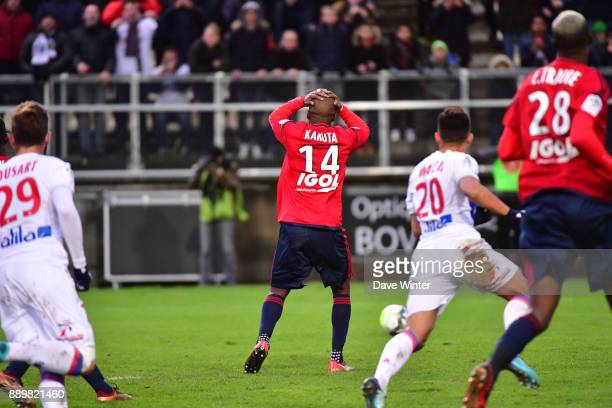 Gael Kakuta of Amiens reacts after missing a late penalty during the Ligue 1 match between Amiens SC and Olympique Lyonnais at Stade de la Licorne on...