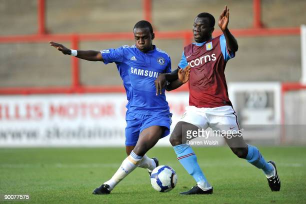 Gael Kakuta of Chelsea reserves and Moustapha Salifou of Aston Villa Reserves during a Barclays Premier Reserve League south match between Chelsea...