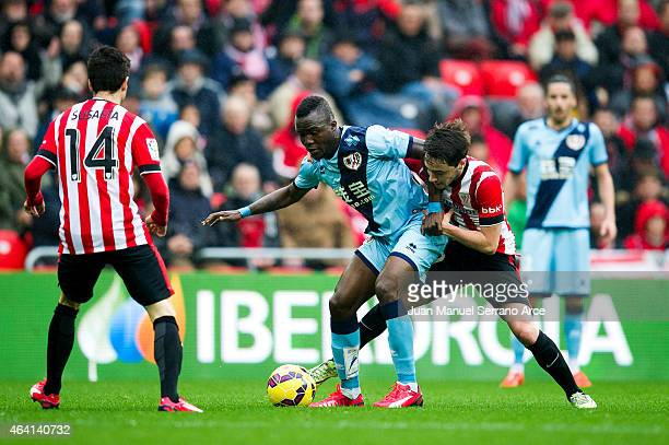 Gael kakuta of Rayo Vallecano duels for the ball with Unai Lopez of Athletic Club during the La Liga match between Athletic Club and Rayo Vallecano...
