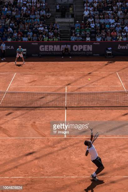 Gael Monfils and Marco Cecchinato in action during the German Tennis Championships at Rothenbaum on July 24 2018 in Hamburg Germany
