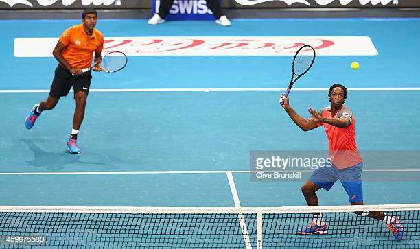 Gael Monfils and Rohan Bopanna of the Indian Aces in action against Nick Kyrgios and Tomas Berdych of the Singapore Slammers during the CocaCola...