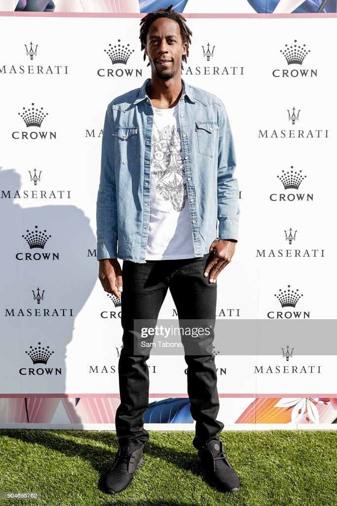 Gael Monfils arrives ahead of the 2018 Crown IMG Tennis Player at Crown Palladium on January 14, 2018 in Melbourne, Australia.