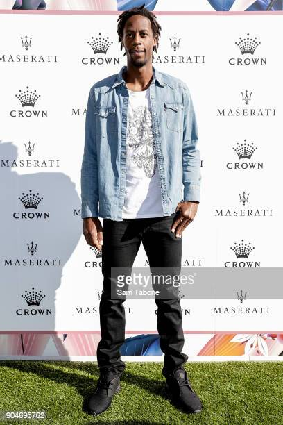 Gael Monfils arrives ahead of the 2018 Crown IMG Tennis Player at Crown Palladium on January 14 2018 in Melbourne Australia