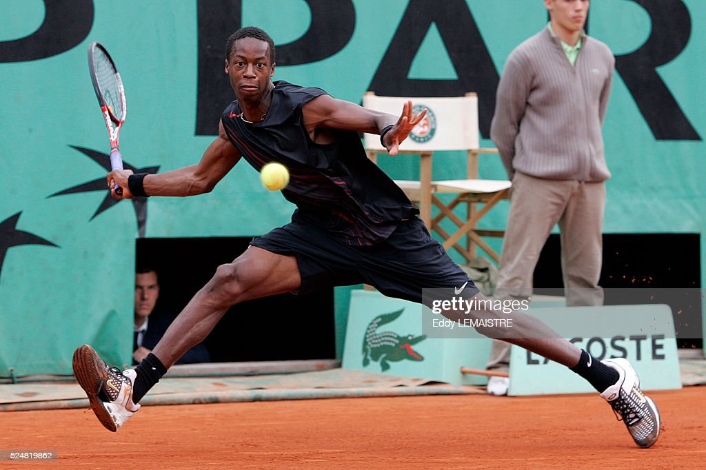 Gael Monfils (FRA) competes in the preliminary rounds of the 2005 French Open Tennis at Roland Garros.