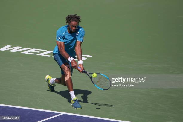 Gael Monfils hits a backhand during the BNP Paribas Open on March 11 2018 at the Indian Wells Tennis Garden in Indian Wells CA