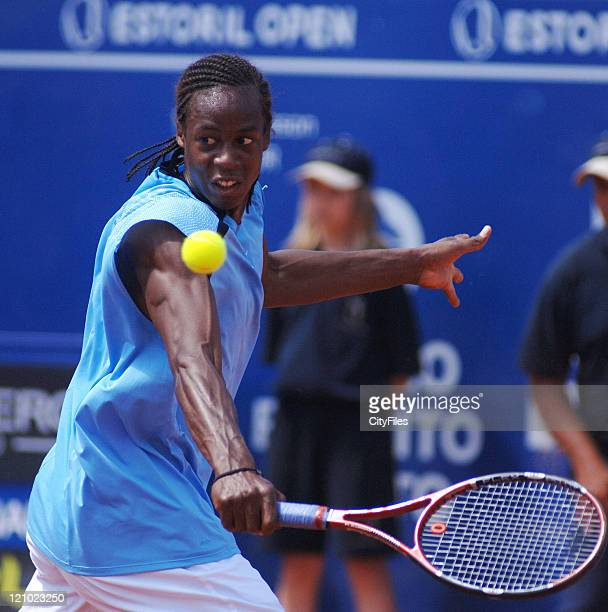 Gael Monfils in action against Albert Portas during their second round match in the 2006 Estoril Open in Estoril Portugal on May 3 2006