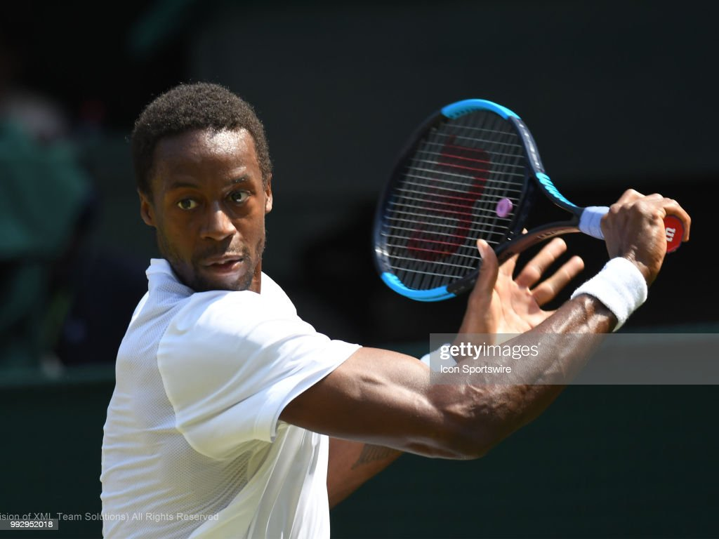 Gael Monfils (FRA) in action during his third round match during the 2018 Wimbledon Championships on July 6, 2018, at All England Lawn Tennis and Croquet Club in London, England.