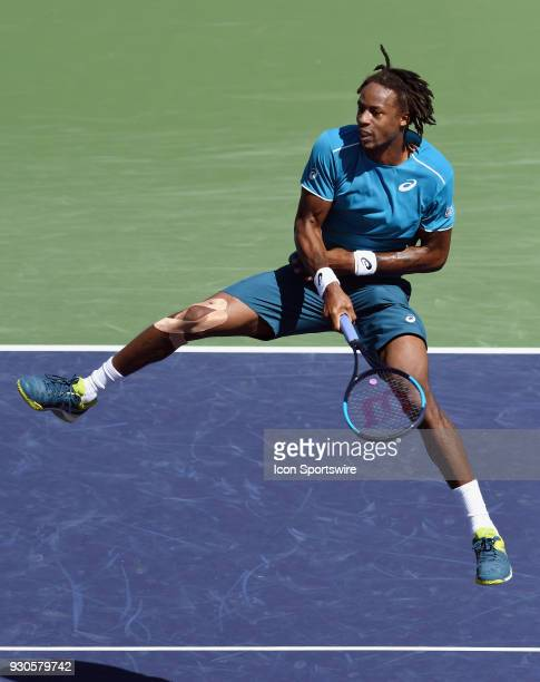 Gael Monfils in the air after hitting a shot for a winner in the first set of a match played during the BNP Paribas Open played on March 11 2018 at...