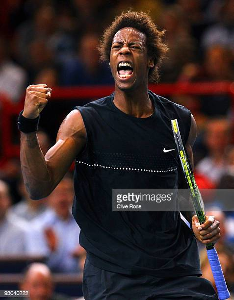 Gael Monfils of France celebrates a break point during his match against Marin Cilic of Croatia during the ATP Masters Series at the Palais...