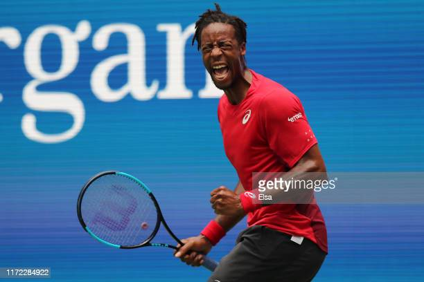 Gael Monfils of France celebrates a point during his Men's Singles quarterfinal match against Matteo Berrettini of Italy on day ten of the 2019 US...