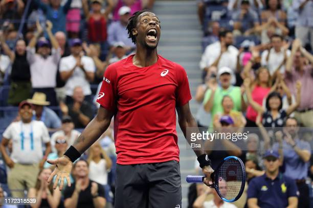 Gael Monfils of France celebrates after winning a point during his Men's Singles quarterfinal match against Matteo Berrettini of Italy on day ten of...