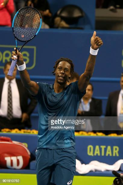 Gael Monfils of France celebrates after winning against Andrey Rublev of Russia in the Qatar ExxonMobil Open 2018 Tennis Tournament Men's Final match...