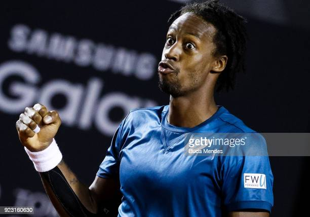 Gael Monfils of France celebrates after winning his match against Marin Cilic of Croatia during the ATP Rio Open 2018 at Jockey Club Brasileiro on...