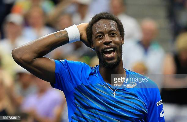 Gael Monfils of France celebrates defeating Lucas Pouille of France during their Men's Singles Quarterfinal Match on Day Nine of the 2016 US Open at...