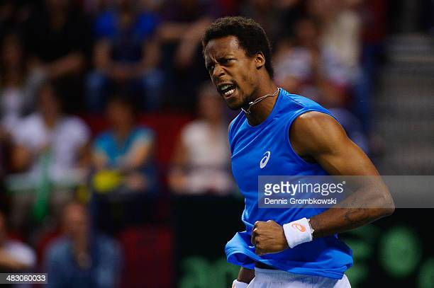 Gael Monfils of France celebrates during his match against Peter Gojowczyk of Germany during day 3 of the Davis Cup Quarter Final match between...