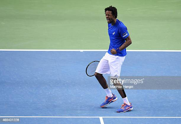Gael Monfils of France celebrates during his match against Philipp Kohlschreiber of Germany during day one of the Davis Cup World Group first round...