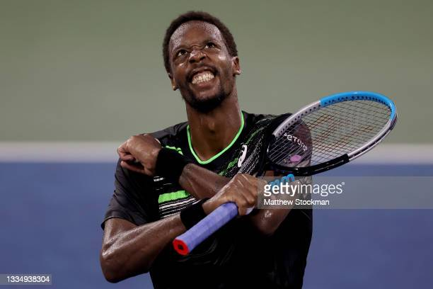 Gael Monfils of France celebrates his 500th career win after defeating Alex De Minaur of Australia during the Western & Southern Open at Lindner...