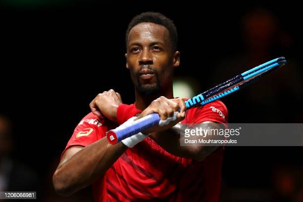 Gael Monfils of France celebrates his victory against Gilles Simon of France during Day 6 of the ABN AMRO World Tennis Tournament at Rotterdam Ahoy...