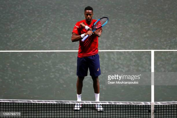 Gael Monfils of France celebrates his victory against Joao Sousa of Portugal during Day 5 of the ABN AMRO World Tennis Tournament at Rotterdam Ahoy...