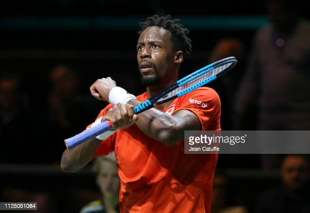 Gael Monfils of France celebrates his victory over Damir Dzumhur of Bosnia during Day 5 of the ABN AMRO World Tennis Tournament at Rotterdam Ahoy on...