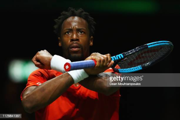 Gael Monfils of France celebrates his victory over Damir Dzumhur of Bosnia and Herzegovina during Day 5 of the ABN AMRO World Tennis Tournament at...