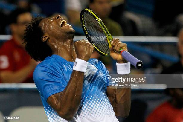 Gael Monfils of France celebrates match point against John Isner during the semifinals of the Legg Mason Tennis Classic presented by Geico at the...