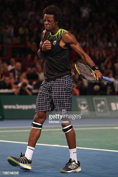 Gael Monfils of France celebrates match point during his match against Fernando Verdasco of Spain during Day Five of the ATP Masters Series Paris at...