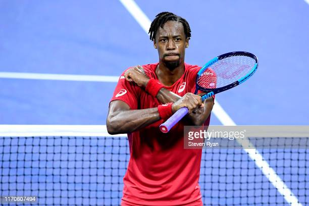 Gael Monfils of France celebrates victory after his Men's Singles first round match against Albert RamosVinolas of Spain on day two of the 2019 US...