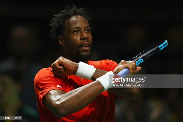 Gael Monfils of France celebrates victory against Daniil Medvedev of Russia in their semi final match during Day 6 of the ABN AMRO World Tennis...