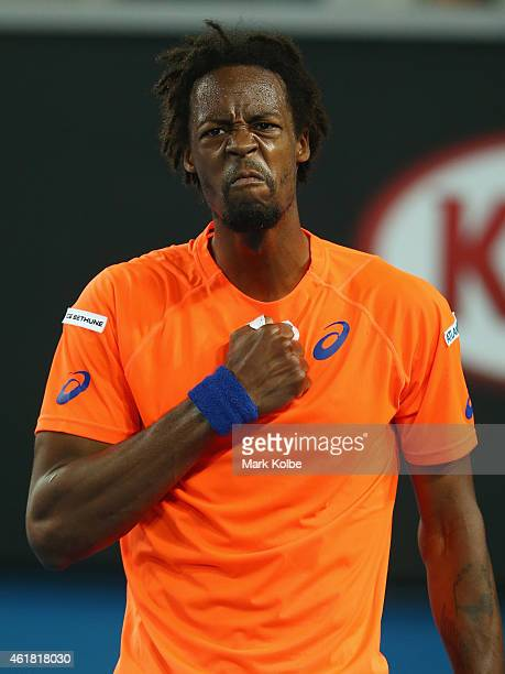 Gael Monfils of France celebrates winning a point during the fifth set in his first round match against Lucas Pouille of France during day two of the...