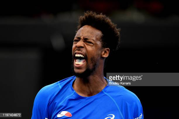 Gael Monfils of France celebrates winning a point in his match against Cristian Garin of Chile during day two of the 2020 ATP Cup Group Stage at Pat...