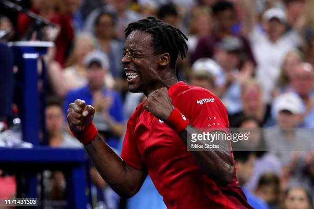 Gael Monfils of France celebrates winning after his Men's Singles third round match against Denis Shapovalov of Canada on day six of the 2019 US Open...