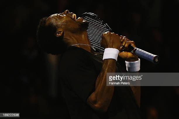Gael Monfils of France celebrates winning his quarterfinal match against Tommy Haas of Germany during day four of the Heineken Open at the ASB Tennis...