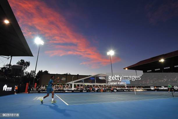 Gael Monfils of France competes in his match against Thanasi Kokkinakis of Australia during day one of the World Tennis Challenge at Memorial Drive...